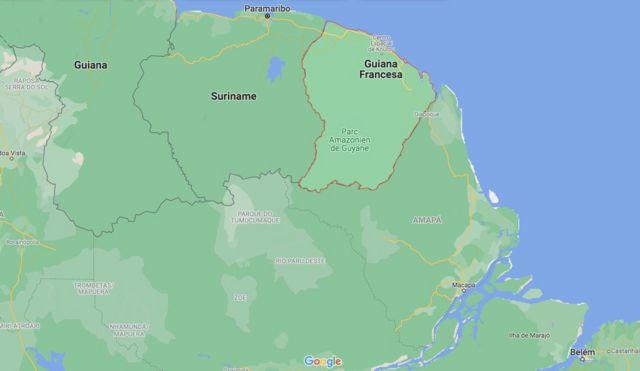 Mapa mostra proximidade entre Oiapoque e Guiana Francesa