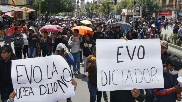 Protesta contra Evo