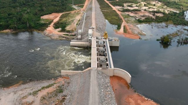 Une vue du barrage hydroélectrique de Soubré, sur le fleuve Sassandra