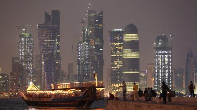 ภาพวิวกลางคืนในกรุงโดฮา