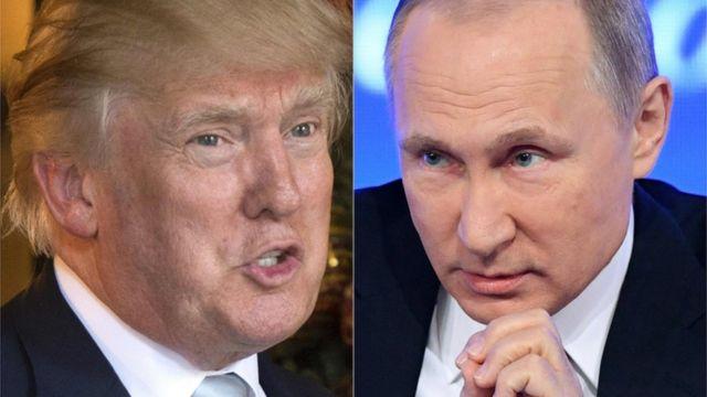 Дональд Трамп и Владимир Путин (фотоколлаж, 30 декабря 2016 года)