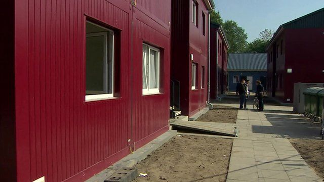 Shipping containers turned into temporary accommodation