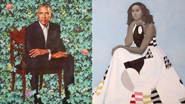 Портреты Барака и Мишель Обамы