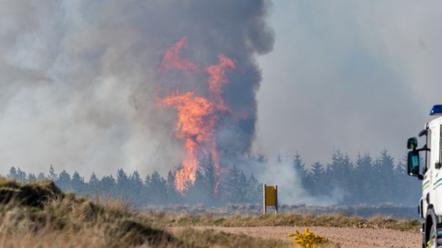 Seven fire crews battle Moray wildfire