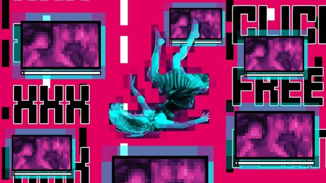 Ilustração mostra mulher caindo em meio a telas de computador com imagens pixeladas