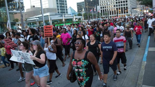 A protest in Dallas against the deaths of black men by police