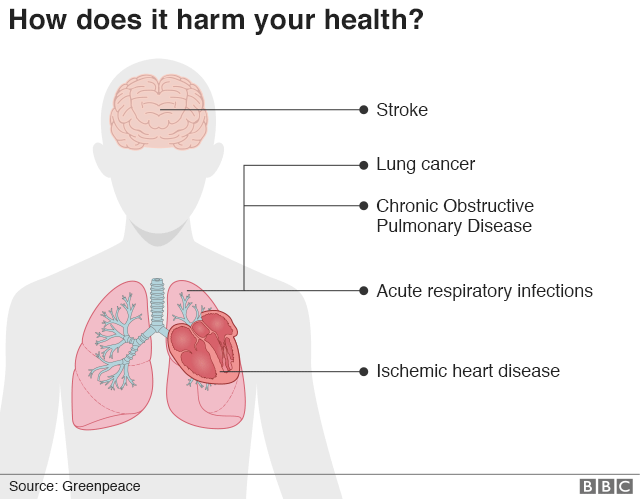 Graphic depicting how smog harms your health