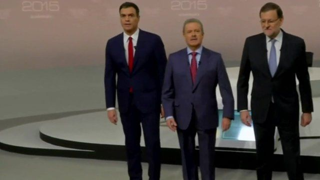 Socialist (PSOE) opposition leader Pedro Sanchez and Prime Minister Mariano Rajoy face off in TV debate