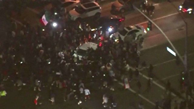 Aerial views of clashes outside Donald Trump rally