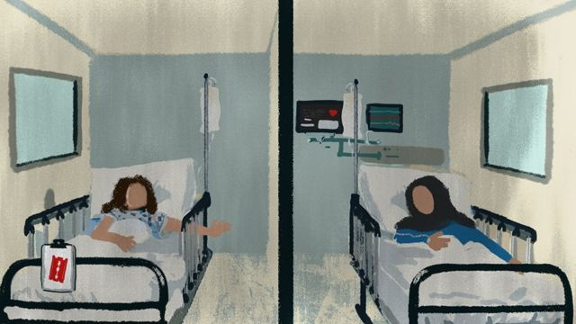 A girl reaches out from her hospital bed towards her mother, who is another room in another hospital bed