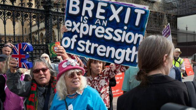 Protesto em favor do Brexit em Londres, em 2019