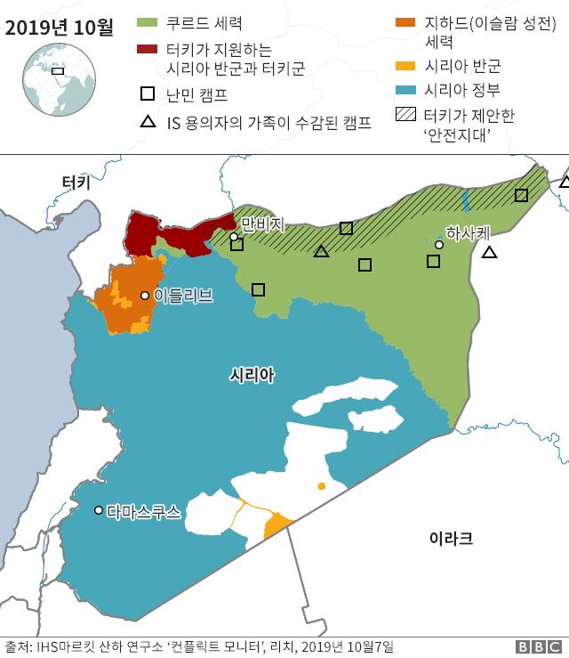 10월 현재 시리아 북동부의 쿠르드 점령지역(녹색)과 터키군과 터키의 지원을 받는 시리아 반군(적색)이 점령한 지역의 지도