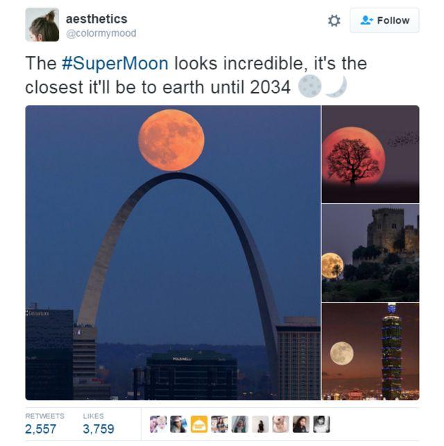 Supermoon photo on Twitter