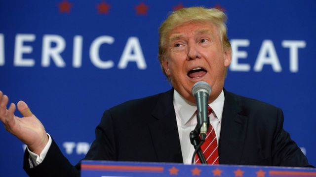 Donald Trump speaks at a rally in Keene, New Hampshire.