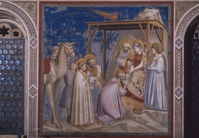 """En el fresco de Giotto """"Adoración de los Magos"""" La estrella de Belén se representa como un cometa"""