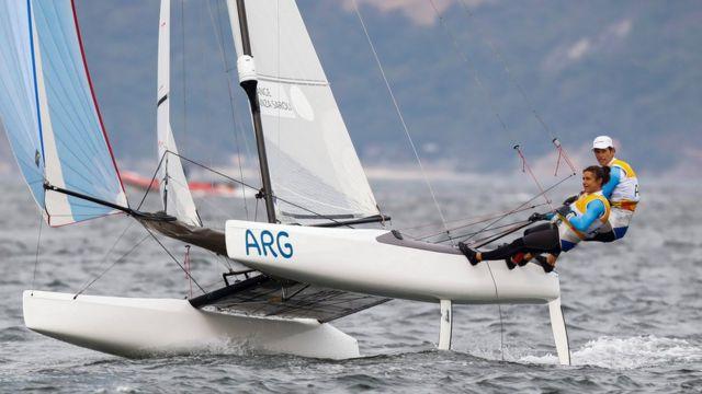 Lange y Carranza en competencia de Nacra 17.