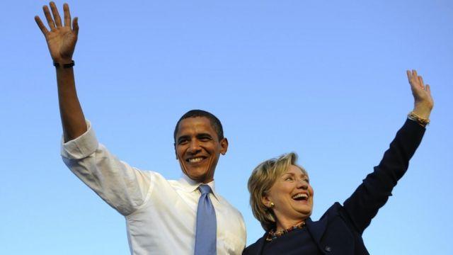 """En el video, Obama dice que """"no puede esperar"""" a empezar a hacer campaña por Hillary Clinton."""