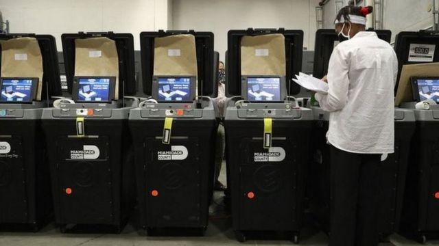 يستخدم نظام دومينيوم على نطاق واسع في آلات التصويت وفرز الأصوات