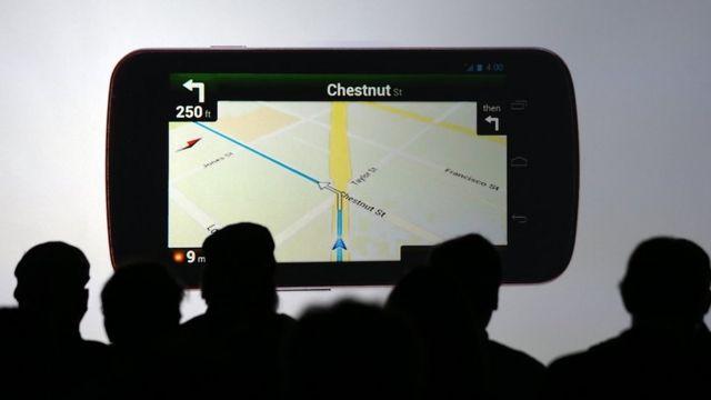 Mapa em um celular