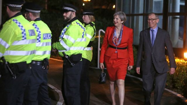 Police protecting Theresa May and her husband Philip