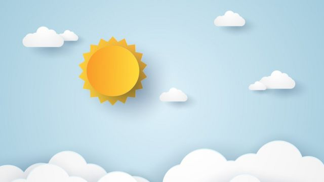 Ilustração mostra sol e nuvens