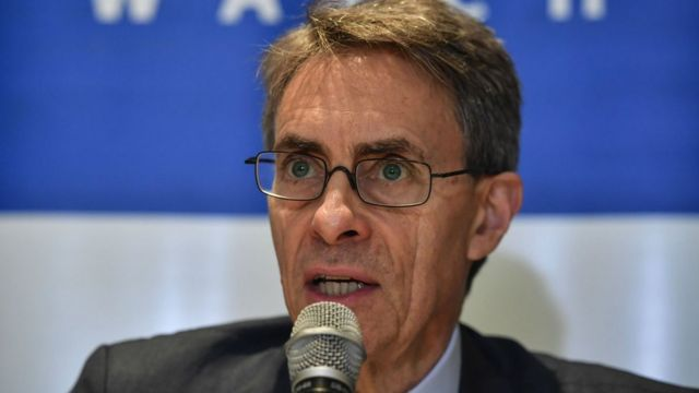 Human Rights Watch executive director Kenneth Roth speaks during a press conference in Sao Paulo, Brazil, on 16 October 2019.