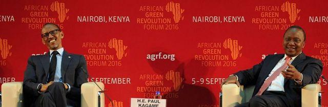Shugaban kasar Rwanda Paul Kagame da Uhuru Kenyatta na Kenya,dukkanninsu sun bayyana a hedikwatar majalisar dinkin duniya da ke Nairobi babban birnin kasar Kenya a shekarar 2016