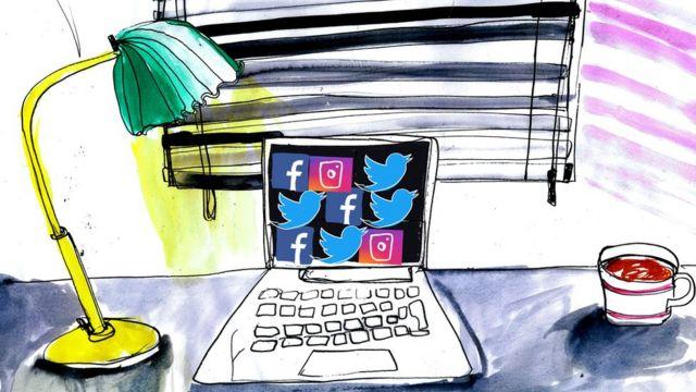 Ilustração de uma mesa com um laptop mostrando sites de social media