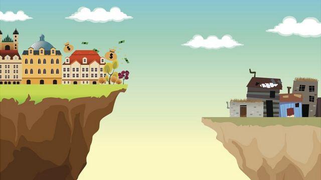 Ilustración mostrando una ciudad rica a la izquierda y una pobre a la derecha
