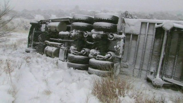 Overturned lorry in the snow