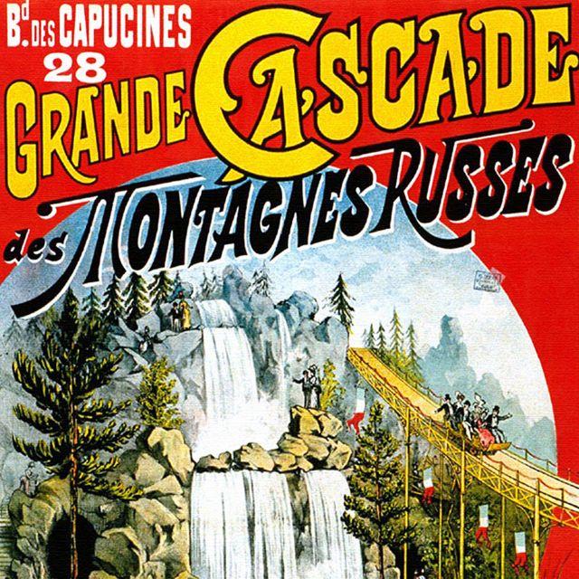 Cartel promocionando montañas rusas