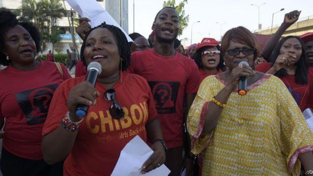 拉致からほぼ2年がたった13日にデモが行われた(ナイジェリア・ラゴス)