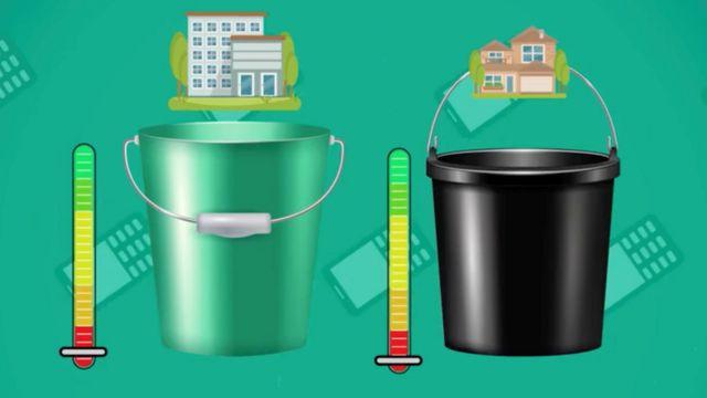 Ilustración de dos baldes o cubetas vacíos