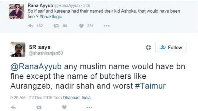 @RanaAyyub any muslim name would have bn fine except the name of butchers like Aurangzeb, nadir shah and worst #Taimur