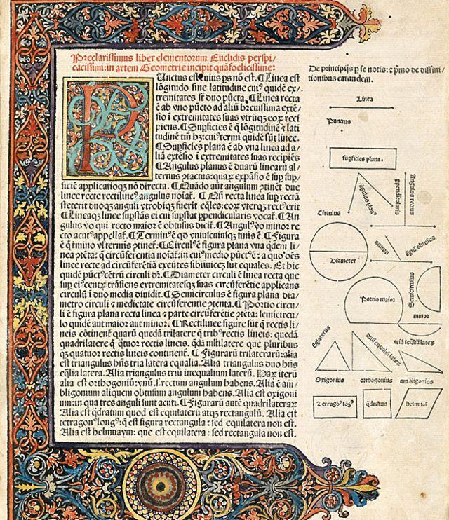 """Página de inicio con texto en latín y diagramas de la primera edición impresa (Venecia, 1482) de los """"Elementos de Geometría"""" de Euclides."""