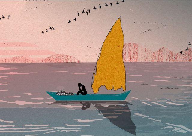 Ilustração de um pescador