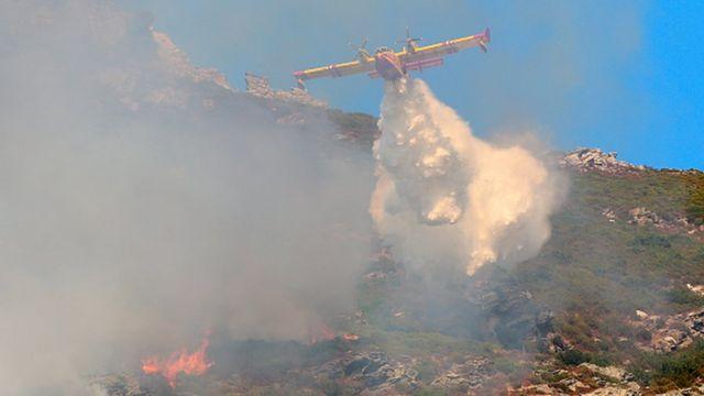 Un avion essaie de circonscrire le feu propagé par la force des vents