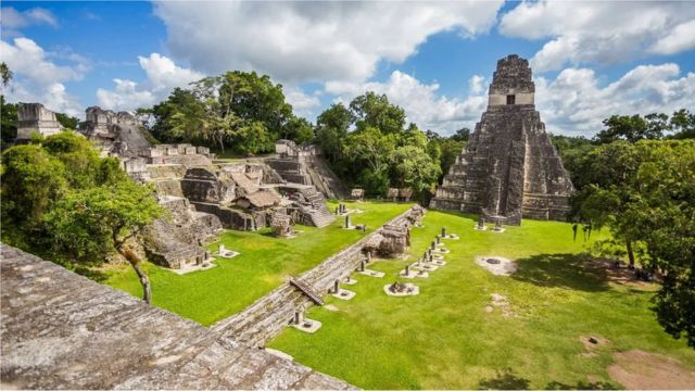 The ruins of the city of Tikal, the largest city in the Mayan civilization, in Guatemala.