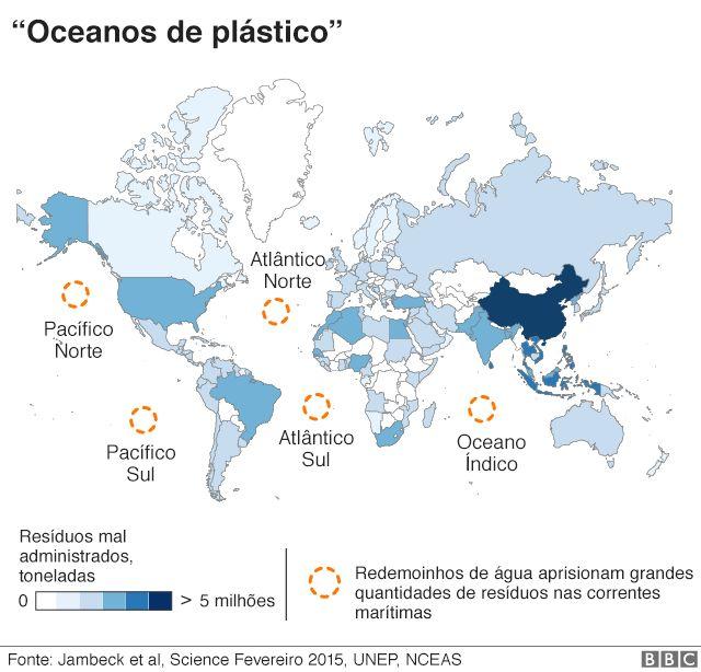 Mapa indicando a alta concentração de plástico em diferentes oceanos