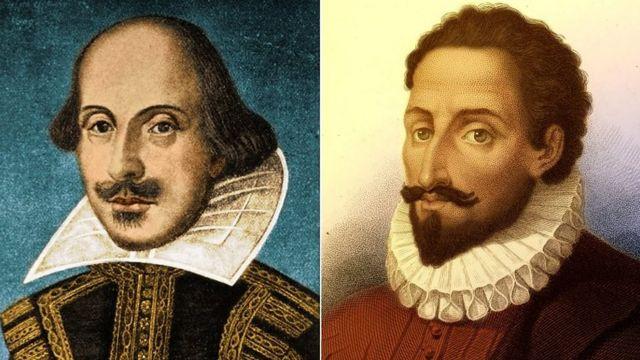 Illustrations of William Shakespeare (L) and Miguel de Cervantes