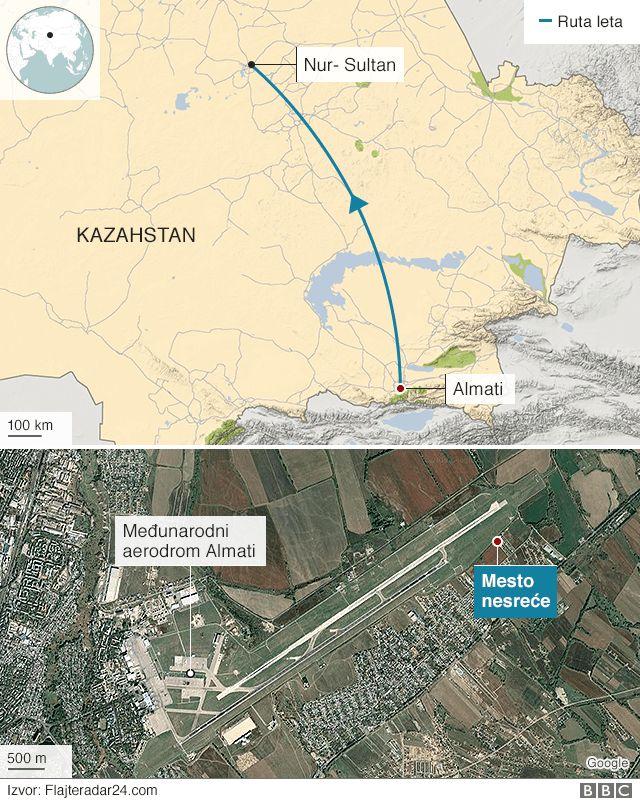 мапа несреће у Казахстану