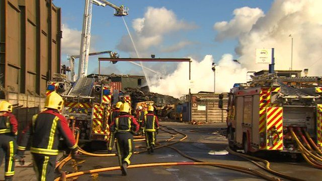 Fire still burning at recycling plant