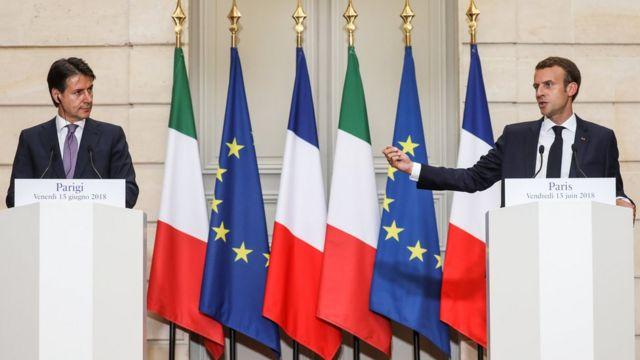 Conte y Macron, reunidos en París.