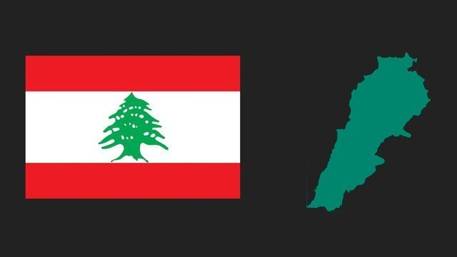 A graphical illustration showing a map of Lebanon and the Lebanese flag