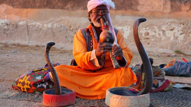 A snake charmer in Pakistan