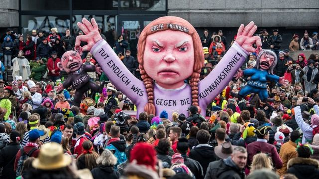 A float featuring an effigy of climate activist Greta Thunberg makes its way through the annual Rose Monday Carnival parade on March 4, 2019 in Dusseldorf, Germany
