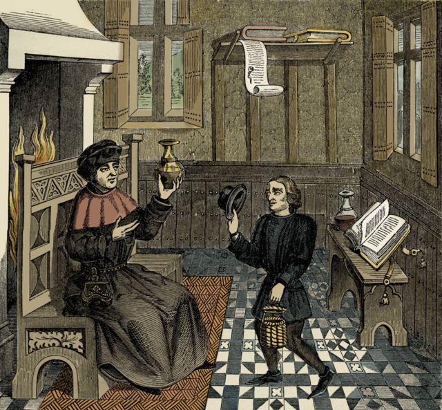 Interior de la casa de un médico, a partir de la reproducción de una miniatura de 'Epistre de Othea' de Christine de Pisan, manuscrito del siglo XV.