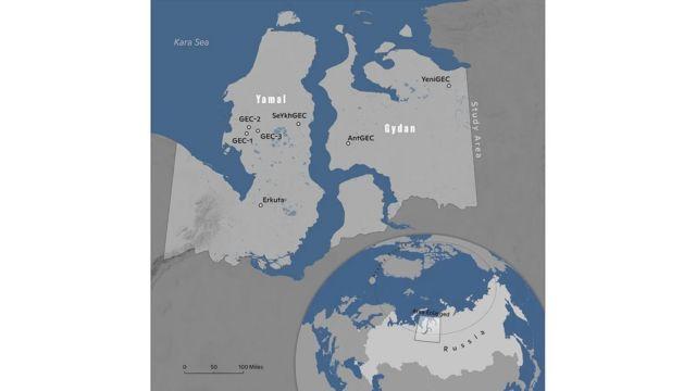 روی این نقشه مکان هفت حفره کشف شده در شبهجزیرههای یامال و گیدان مشخص شده است