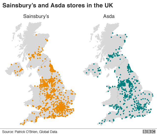 Map of supermarket locations in the UK
