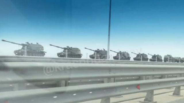 Переброска российских войск по новому мосту в Крым